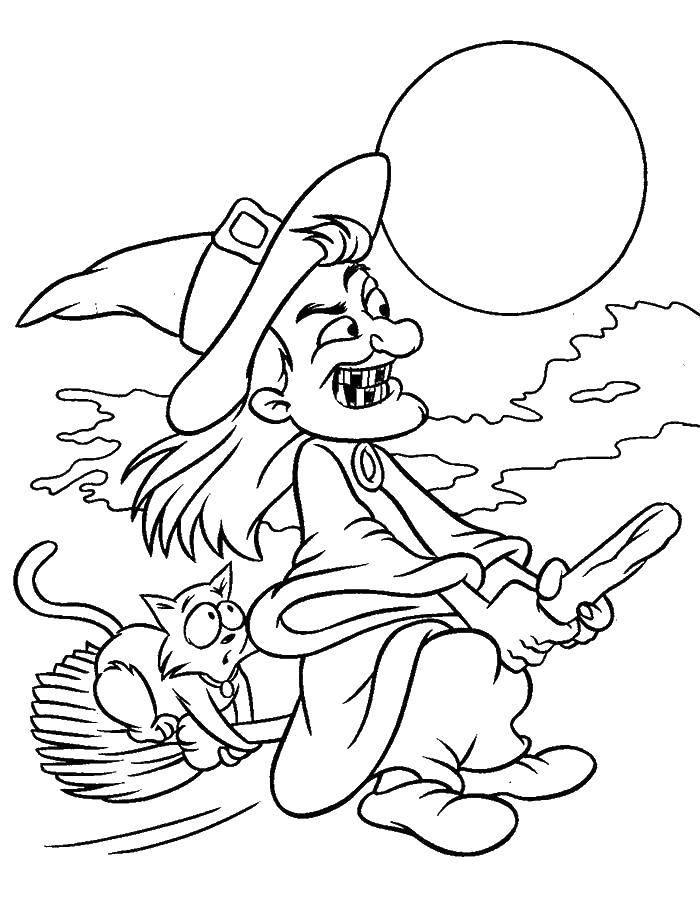 Раскраска Хэллоуин Скачать Белоснежка, Жасмин, Золушка, Ариэль.  Распечатать ,Принцессы,
