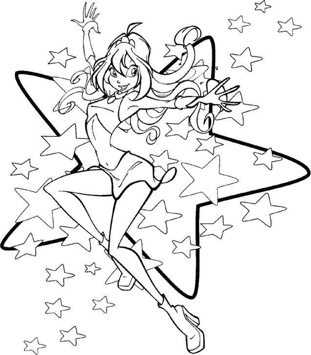 Название: Раскраска Блум из мультфильма winx и звездочки. Категория: Персонаж из мультфильма. Теги: Персонаж из мультфильма, Winx.