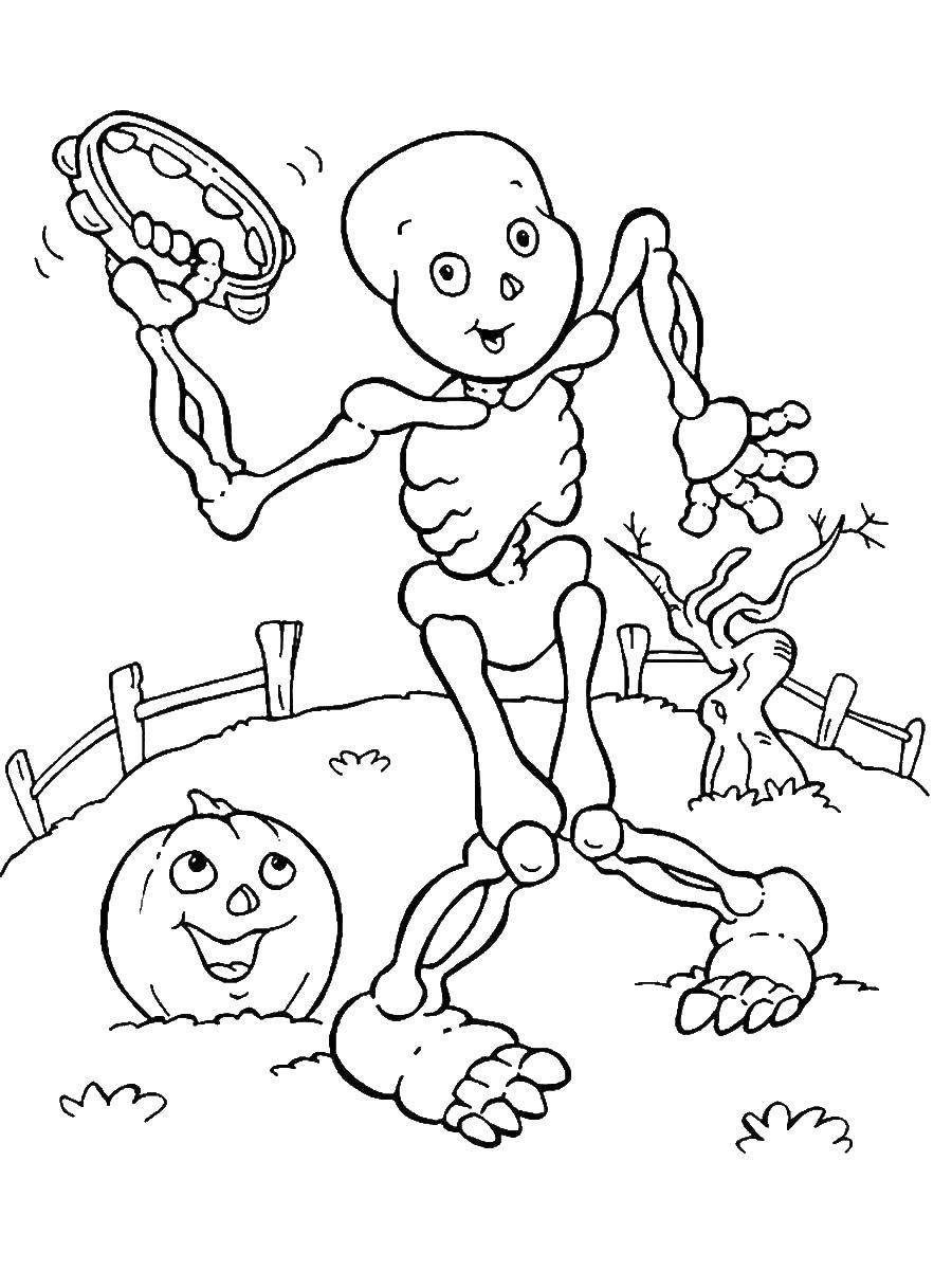 Раскраска Костеной человек с тыквой танцует Скачать Хэллоуин.  Распечатать ,Хэллоуин,