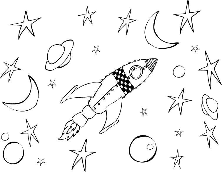 Раскраска Ракета летит в космосе между планет и звезд Скачать Космос, планета, Вселенная, Галактика, ракета.  Распечатать ,ракеты,