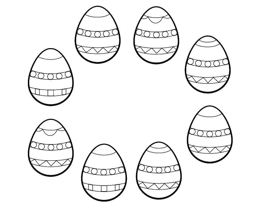 Раскраска Раскрась одинаковые пасхальные яички одним цветом. Скачать Пасха, яйца, узоры.  Распечатать ,пасха,