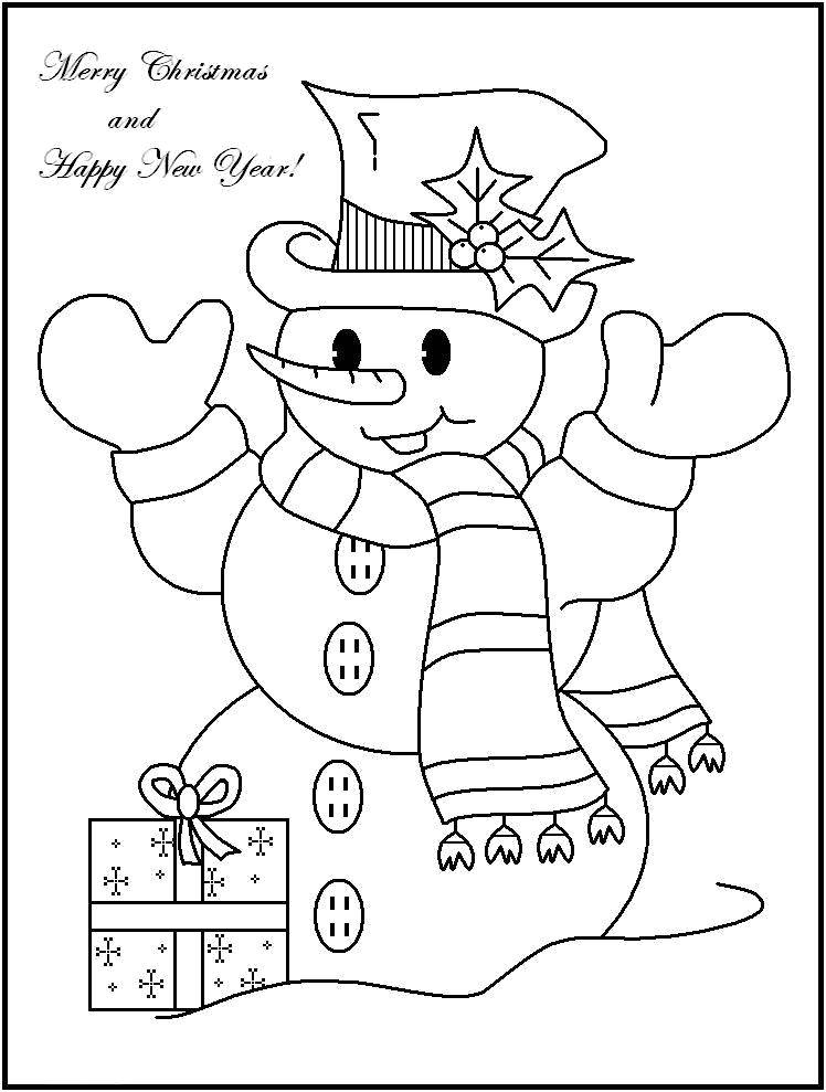 Раскраска открытки Скачать ,Открытка, Новый Год, Рождество,.  Распечатать