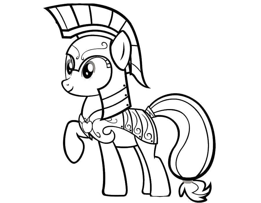 Раскраска Эпл джек в доспехах Скачать пони.  Распечатать ,мой маленький пони,