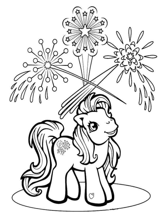 """Раскраска Пони смотрит на салюты Скачать Пони, """"My little pony"""".  Распечатать ,мой маленький пони,"""