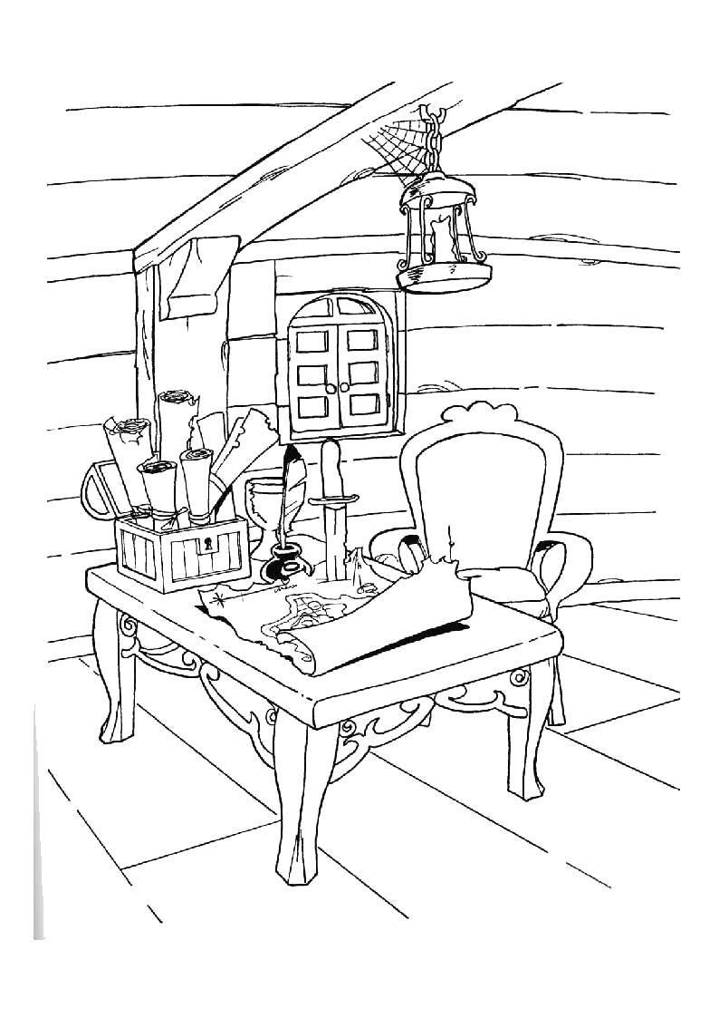 Раскраска Стол пирата с картами Скачать Пират, остров, сокровища, карта.  Распечатать ,Пираты,