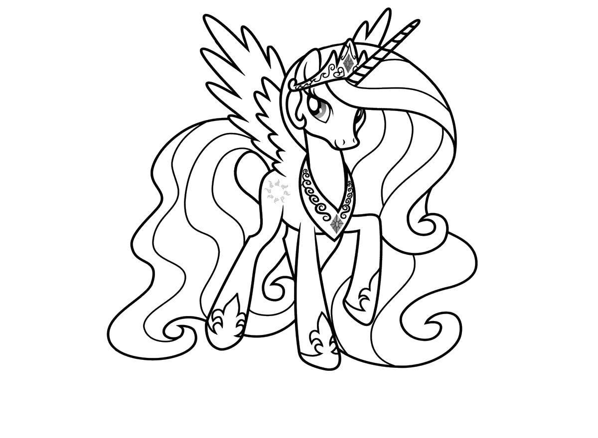 """Раскраска Пони из my little pony с шикарной гривой и хвостом Скачать Пони, """"My little pony"""".  Распечатать ,Пони,"""