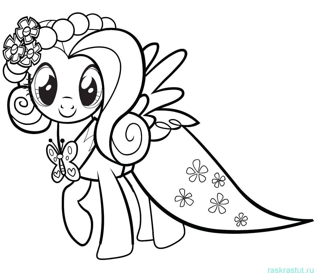 Раскраска Флаттершай в платье Скачать пони.  Распечатать ,мой маленький пони,
