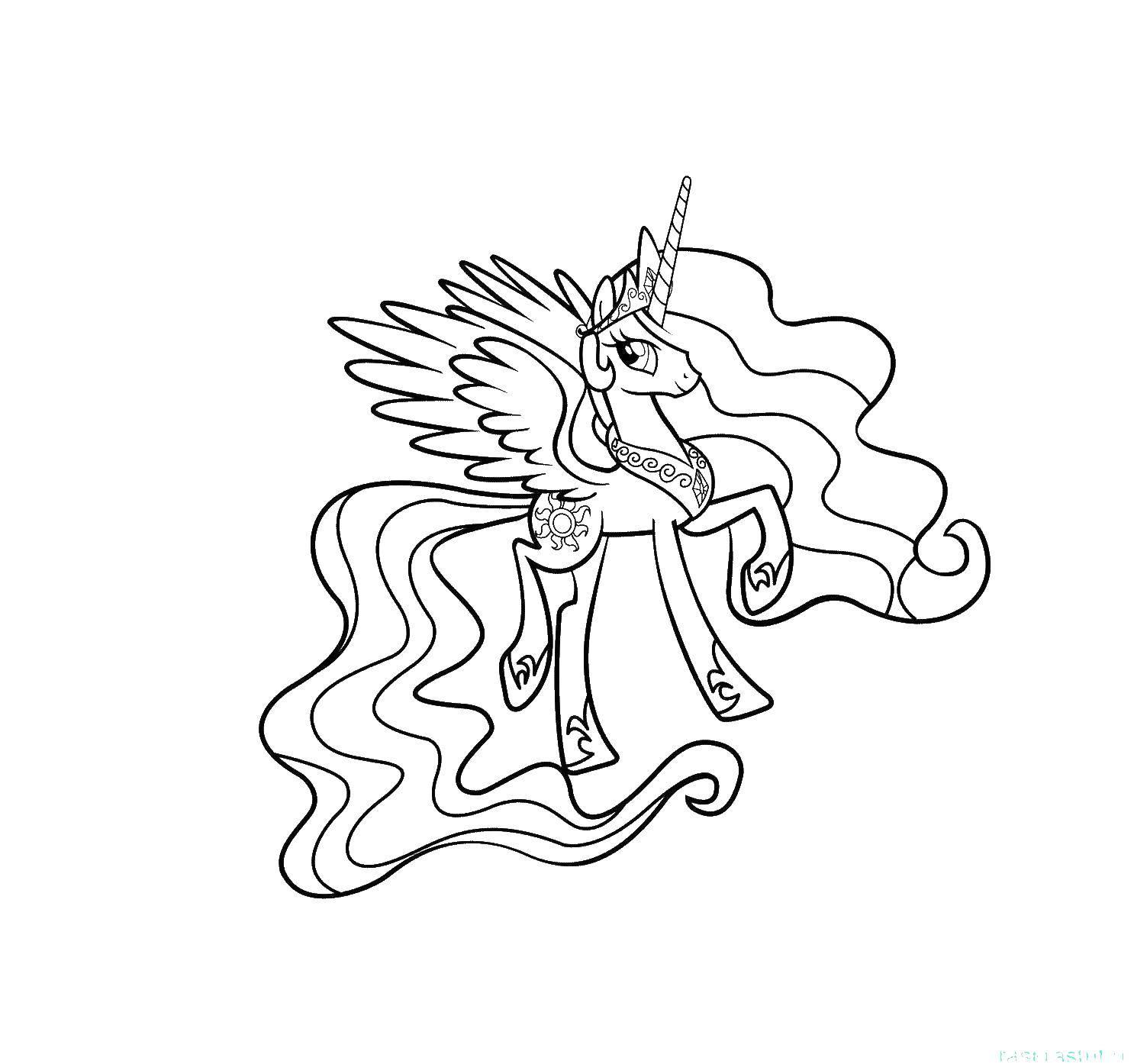 Раскраска Принцесса селестия Скачать принцесса селестия.  Распечатать ,мой маленький пони,