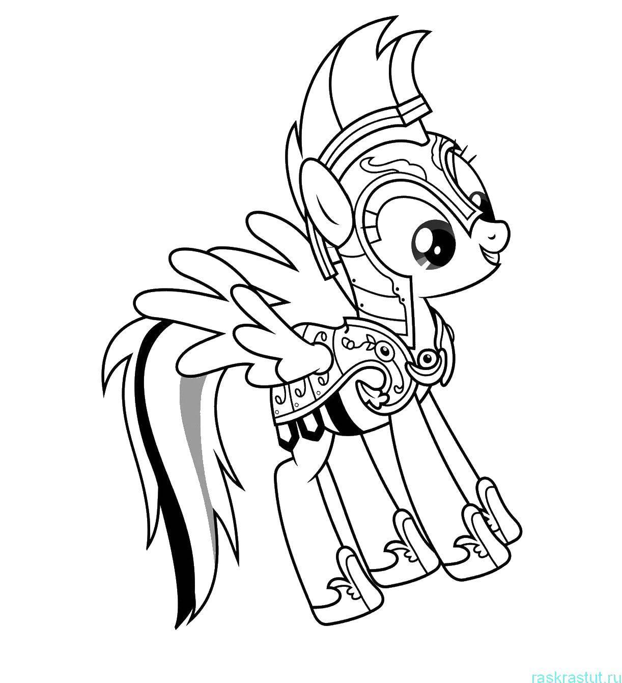 Раскраска Радуга в доспехах Скачать Радуга, пони.  Распечатать ,мой маленький пони,