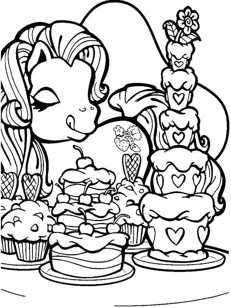 """Раскраска Пони любит тортики Скачать Пони, """"My little pony"""".  Распечатать ,Пони,"""