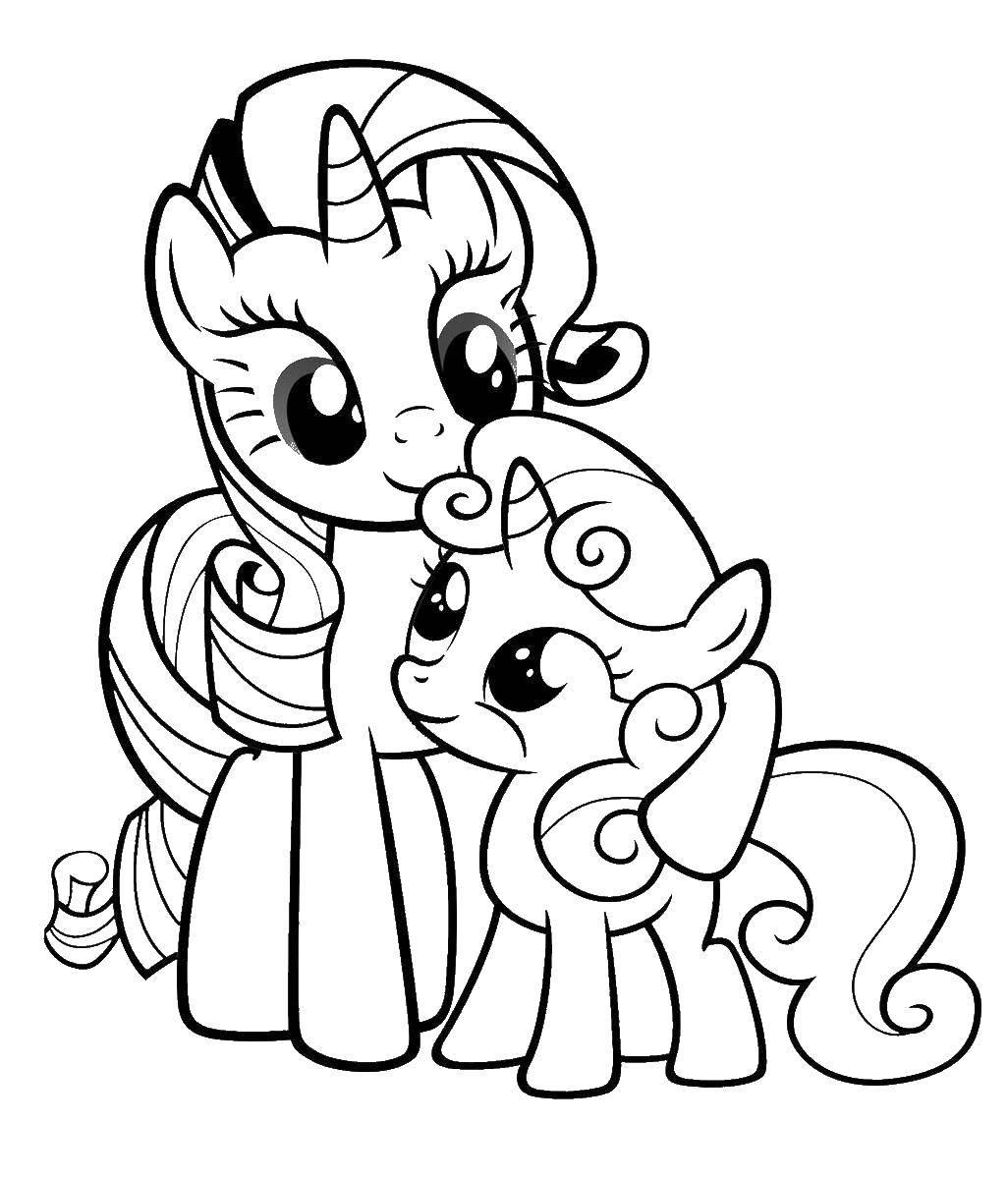 """Раскраска Две поняшки Скачать Пони, """"My little pony"""".  Распечатать ,мой маленький пони,"""