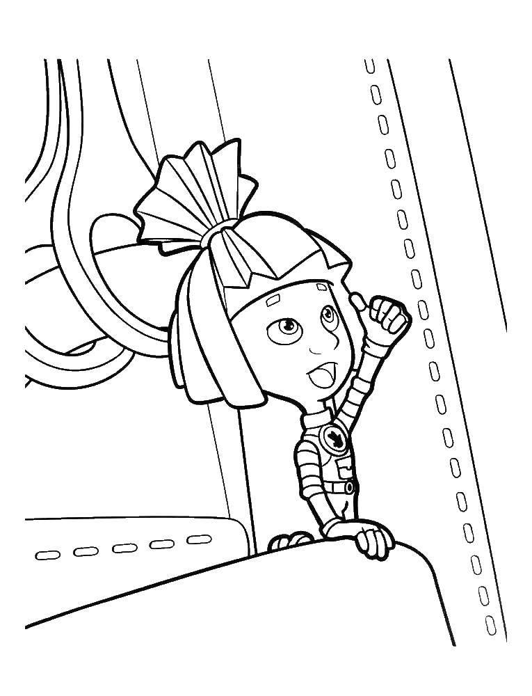 Раскраска Симка показывает класс Скачать фиксики, Симка.  Распечатать ,фиксики,