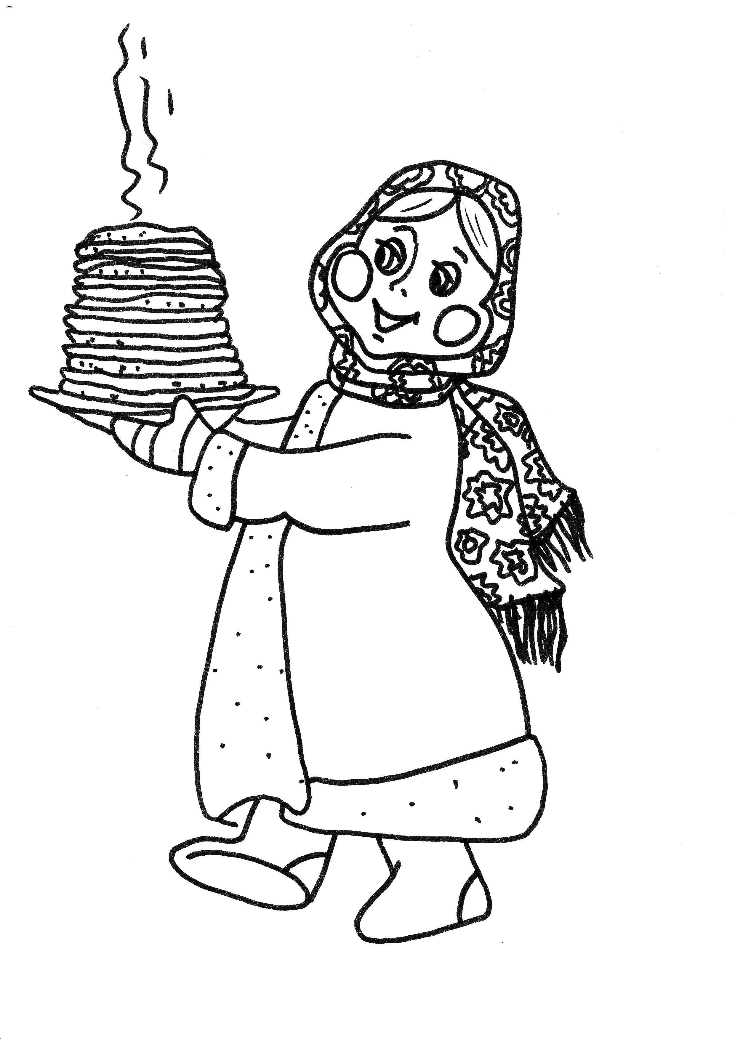 Раскраска девушка с блинами Скачать ,Масленица,.  Распечатать