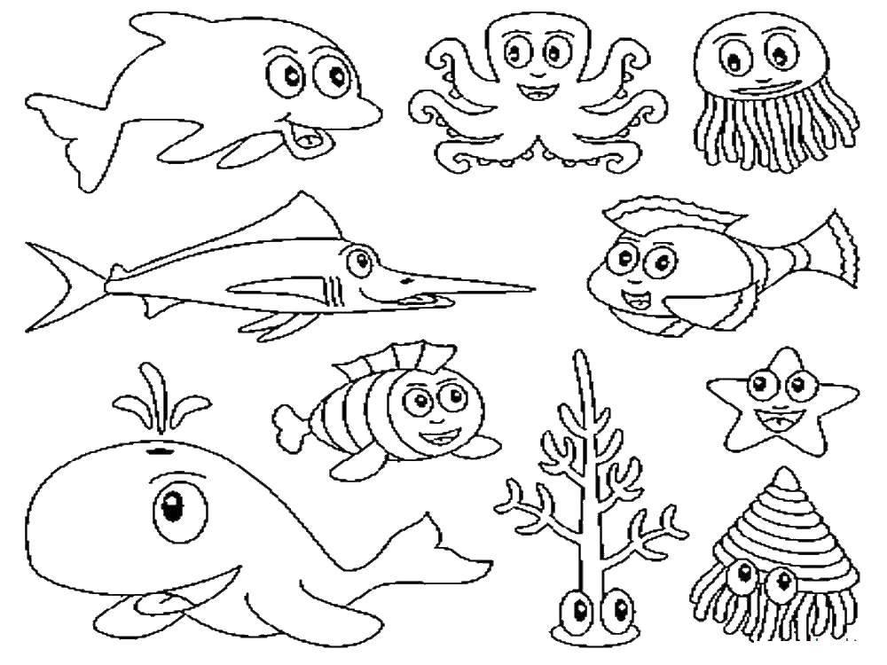 Раскраска рыбы Скачать единорог, крылья, хвост.  Распечатать ,раскраски,