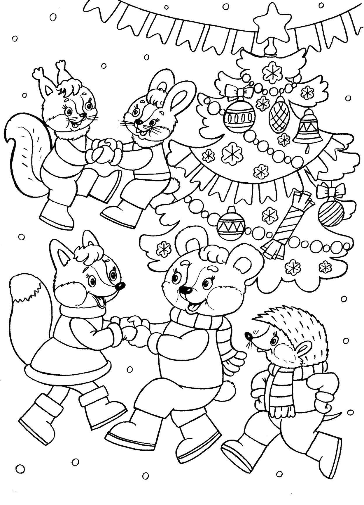 Раскраска Новогодний карнавал животных Скачать Новый Год, подарки, праздник, карнавал, ёлка.  Распечатать ,новый год,