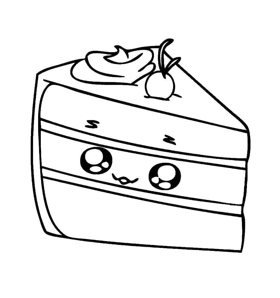 Раскраска Шопкинс кусочек торта Скачать торт, шопкинс.  Распечатать ,игрушка,