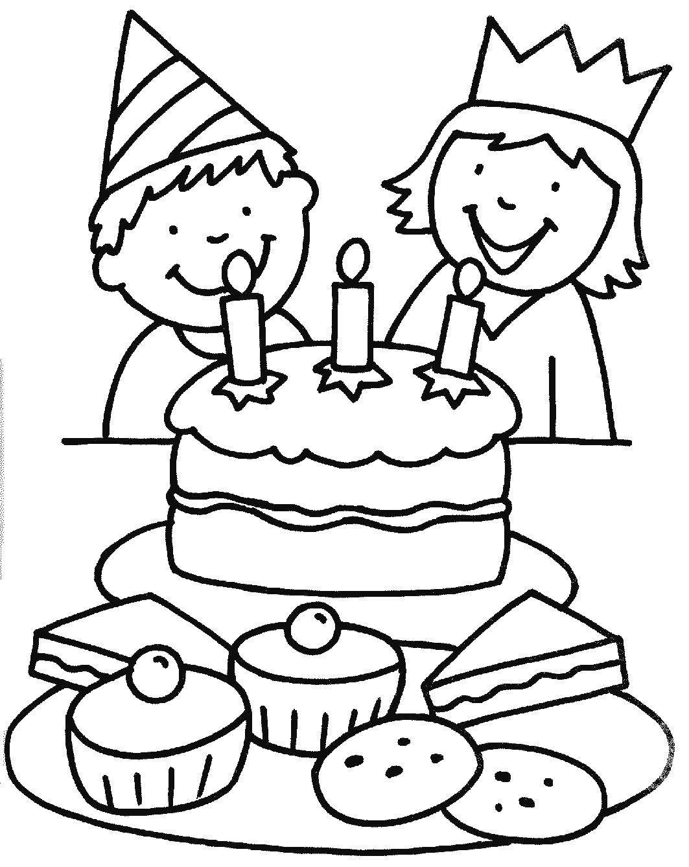 Раскраска Торт ко дню рождения Скачать торт.  Распечатать ,торты,