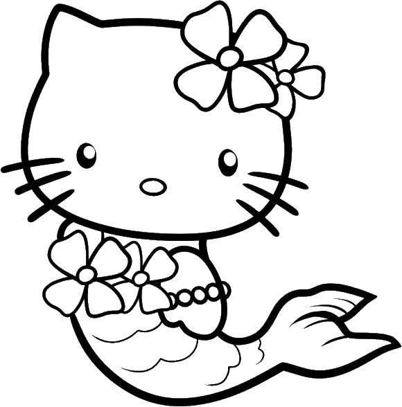 Раскраска Хэллоу китти в костюме русалочки Скачать Хэллоу Китти, русалочка.  Распечатать ,Хэллоу Китти,