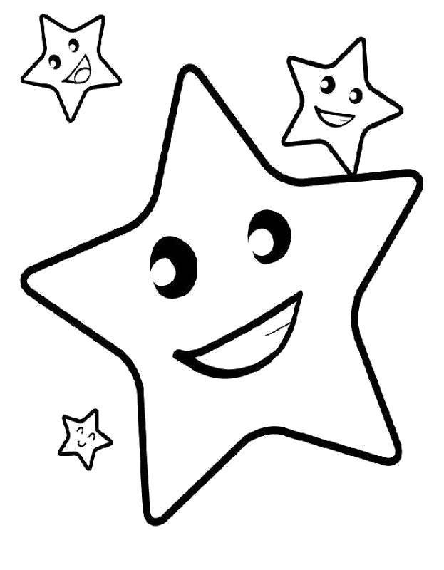 Раскраска Весёлые звездочки Скачать Космос, звёзды.  Распечатать ,простые раскраски,