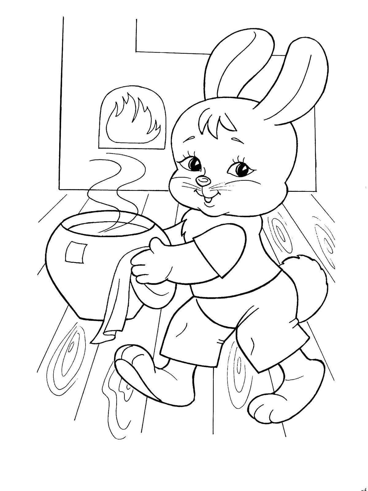 раскраски раскраска зайчик в теремке сказка теремок