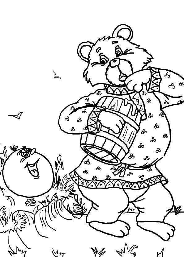 Раскраска Колобок и медведь Скачать Сказки, Колобок.  Распечатать ,колобок,