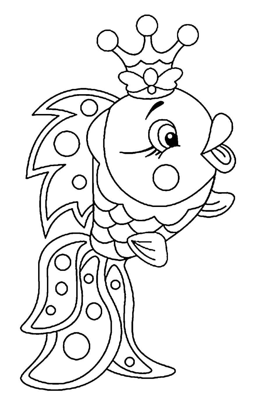 Раскраска Золотая рыбка в короне Скачать Подводный мир, золотая рыбка.  Распечатать ,золотая рыбка,
