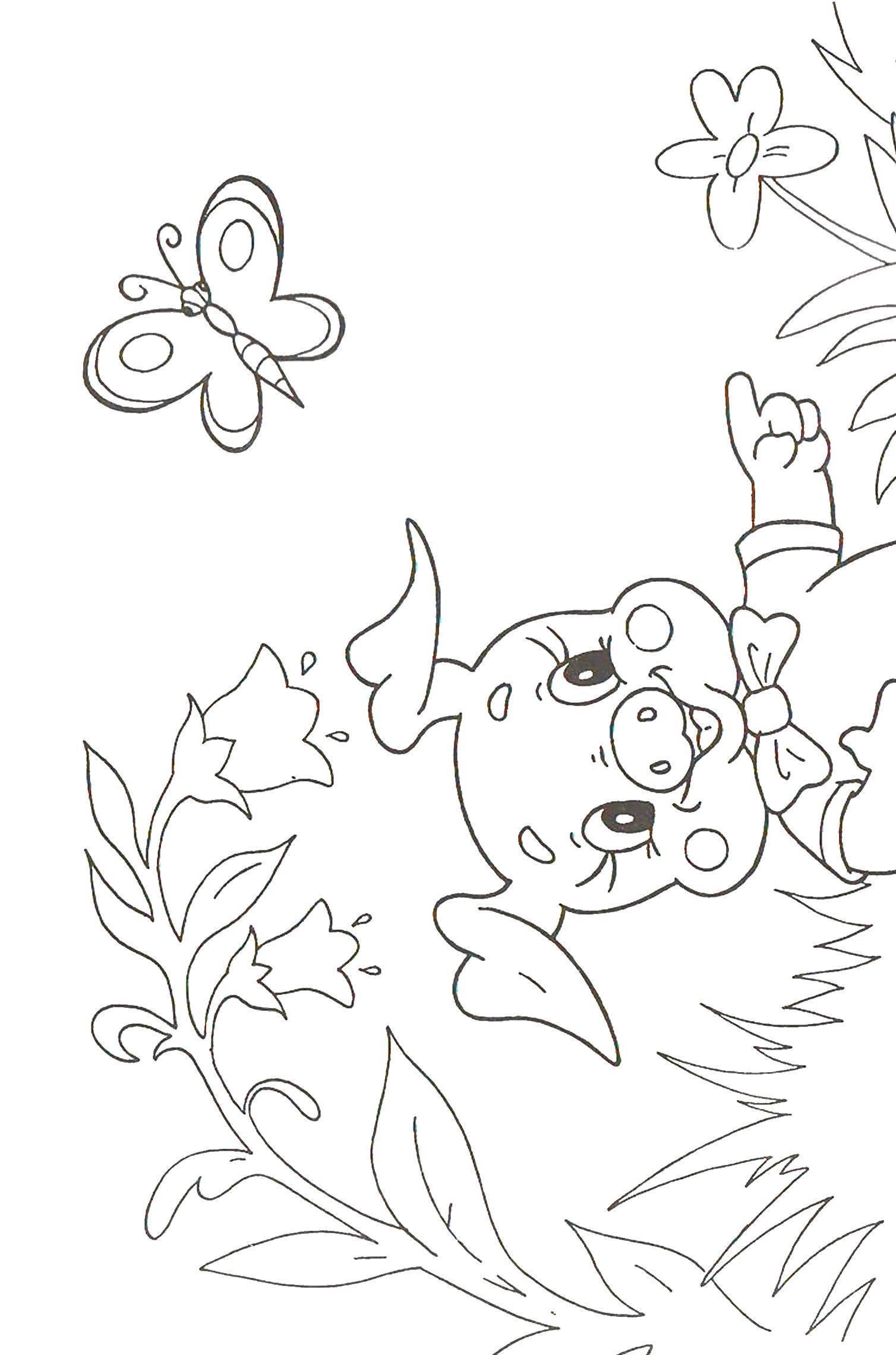 Раскраска Поросенок ловит бабочку Скачать поросенок, волк.  Распечатать ,три поросенка,
