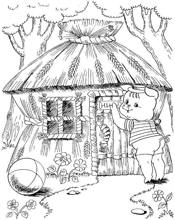 Раскраска Поросенок построил дом из саломы Скачать поросенок, волк.  Распечатать ,три поросенка,