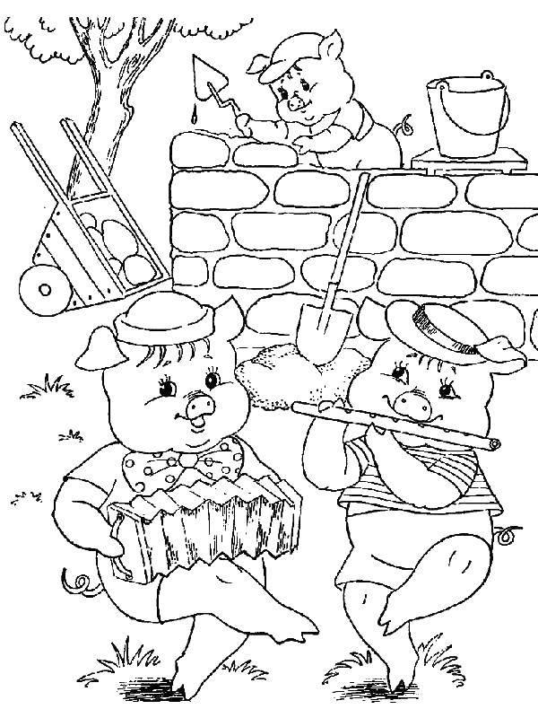 Раскраска Поросенок строит дом Скачать поросенок, волк.  Распечатать ,три поросенка,