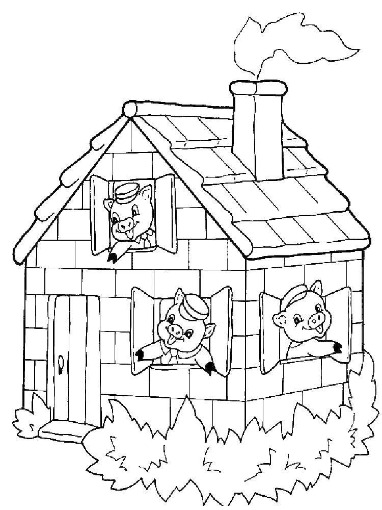 Раскраска три поросенка Скачать ,мешок, кукла, домик,.  Распечатать