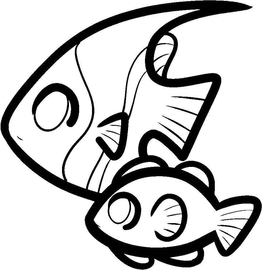 Раскраска Рыбки плавают в воде Скачать Подводный мир, рыба.  Распечатать ,рыбы,