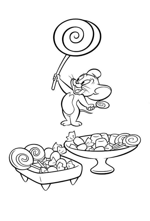 Раскраска Джерри с леденцами Скачать Персонаж из мультфильма, Том и Джерри.  Распечатать ,том и джерри,