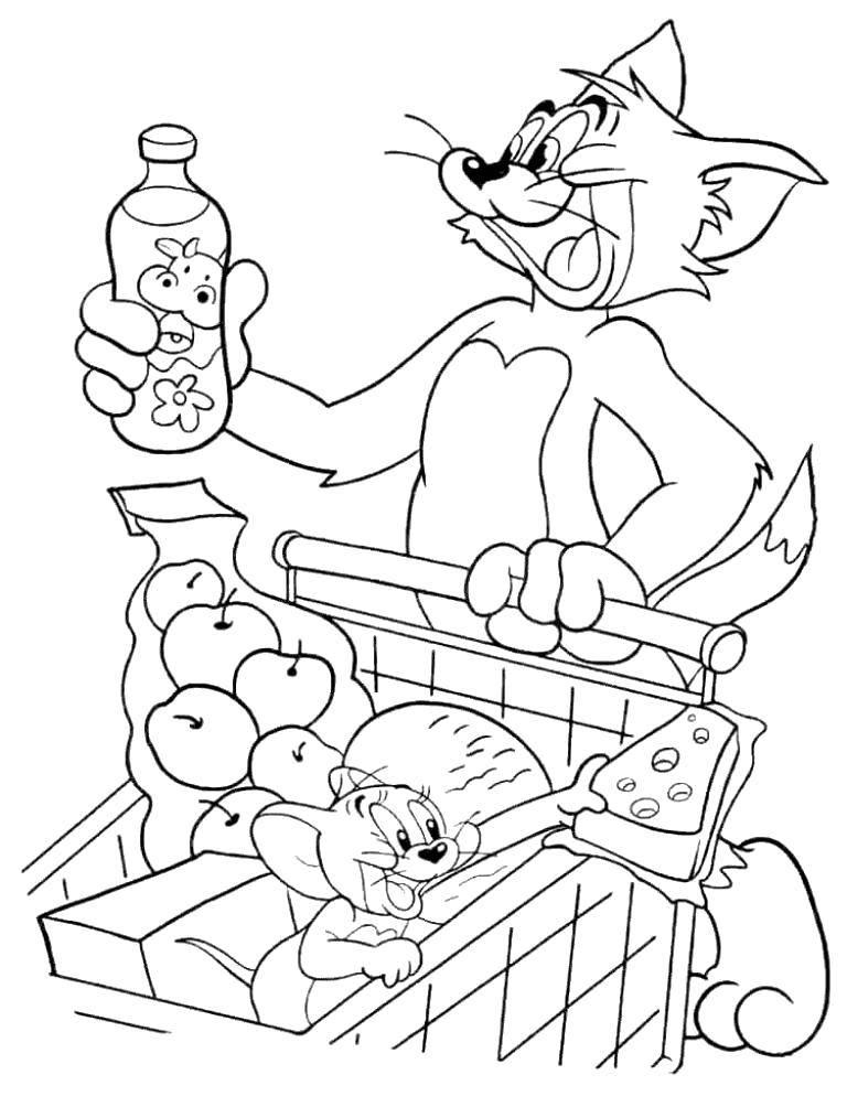 Раскраска Том и джерри  в супермаркете Скачать Персонаж из мультфильма, Том и Джерри.  Распечатать ,том и джерри,
