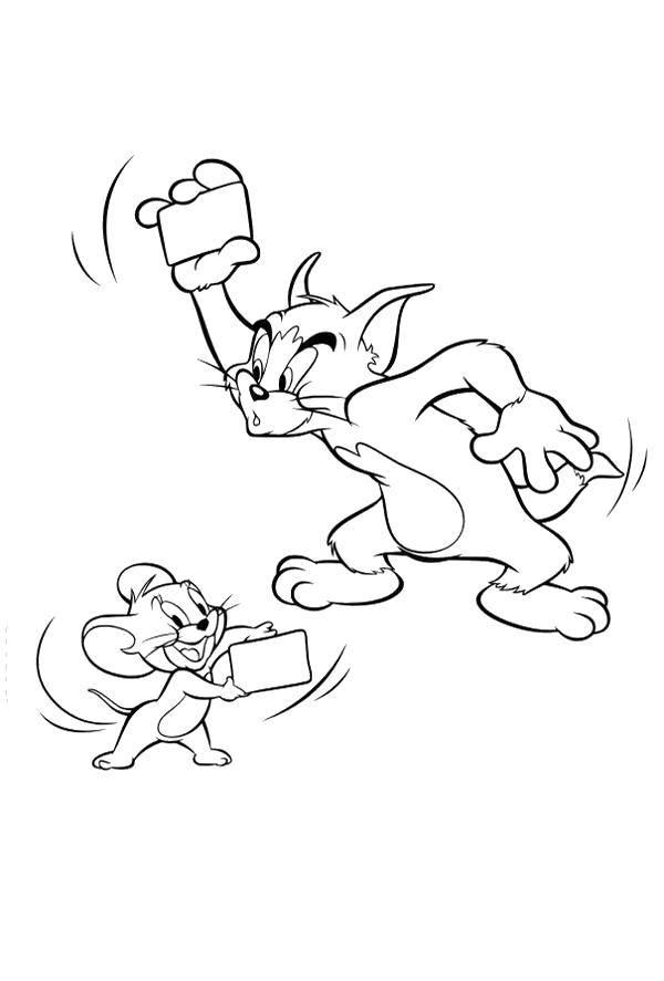 Раскраска Том и джерри Скачать Персонаж из мультфильма, Том и Джерри.  Распечатать ,том и джерри,
