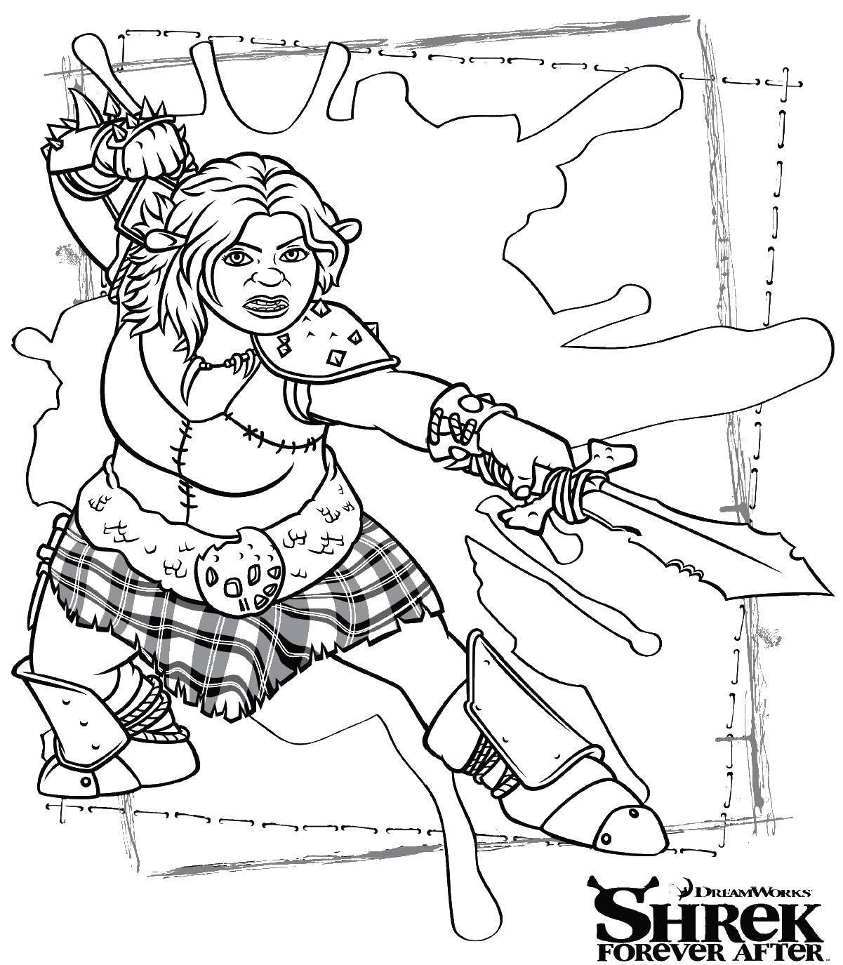 Раскраска Шрек Скачать Персонаж из мультфильма, Спанч Боб, Губка Боб, Планктон.  Распечатать ,Персонаж из мультфильма,