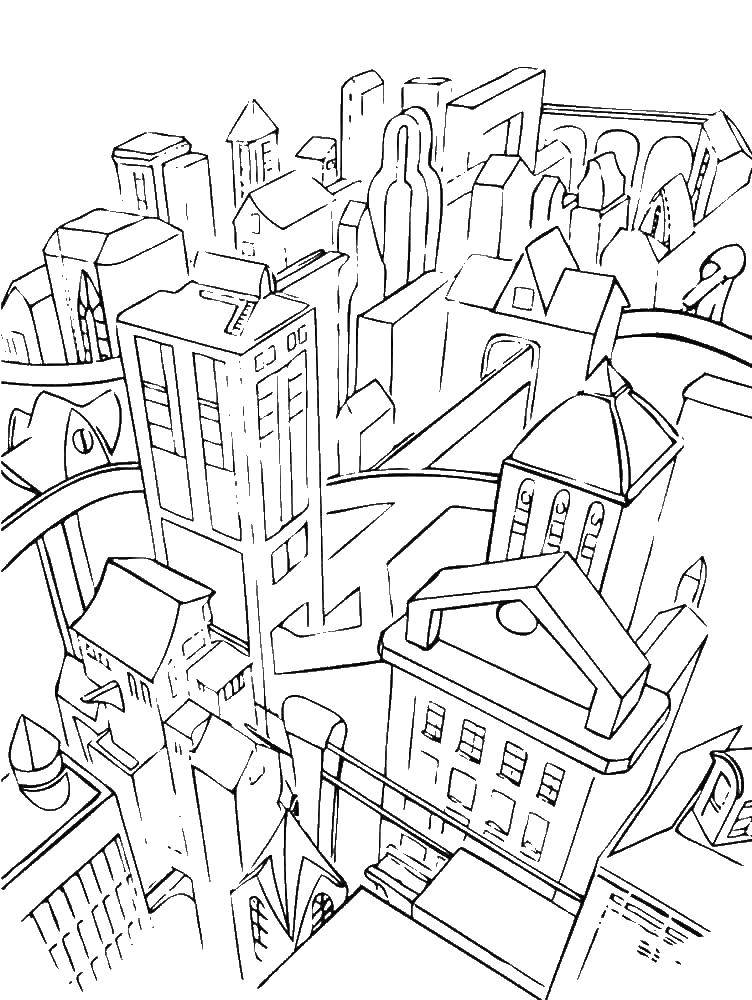 Раскраска город Скачать поросенок.  Распечатать ,домашние животные,