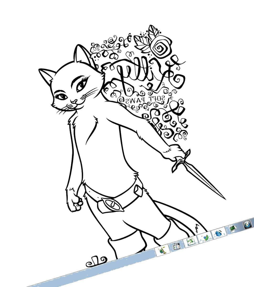 Раскраска Кошечка в сапогах Скачать кот, кошка.  Распечатать ,кот в сапогах из шрека,