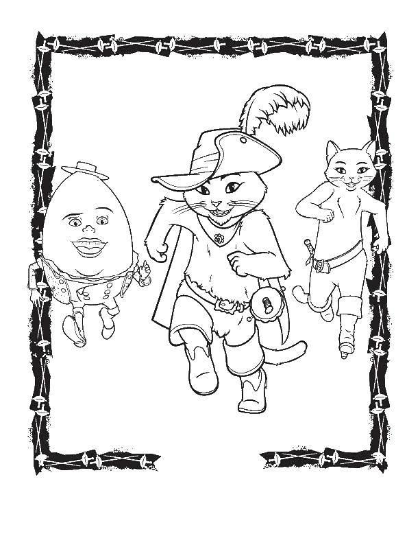 Раскраска Кот в сапогах и  его друзья Скачать кот, кошка.  Распечатать ,кот в сапогах из шрека,