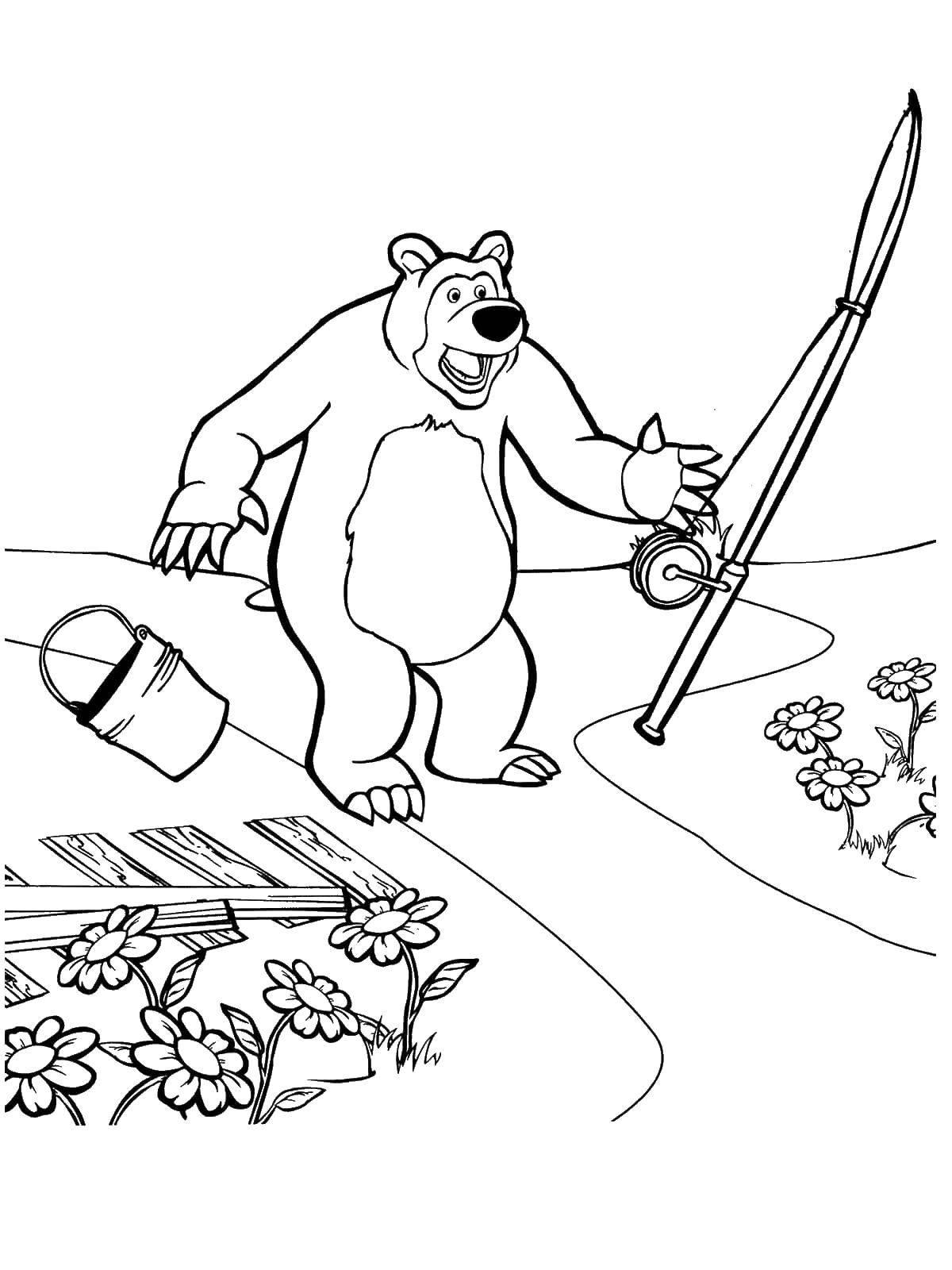 Раскраска маша и медведь Скачать мультфильмы, телепузики.  Распечатать ,мультфильмы,