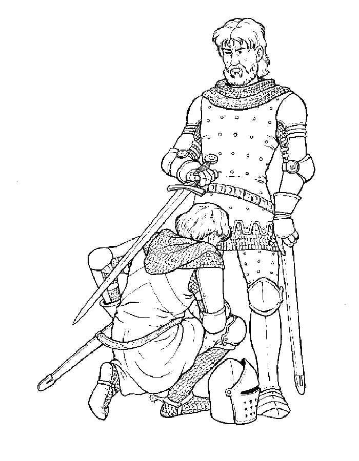 Раскраска Посвящение в рыцари Скачать Рыцарь. воин.  Распечатать ,Рыцари,