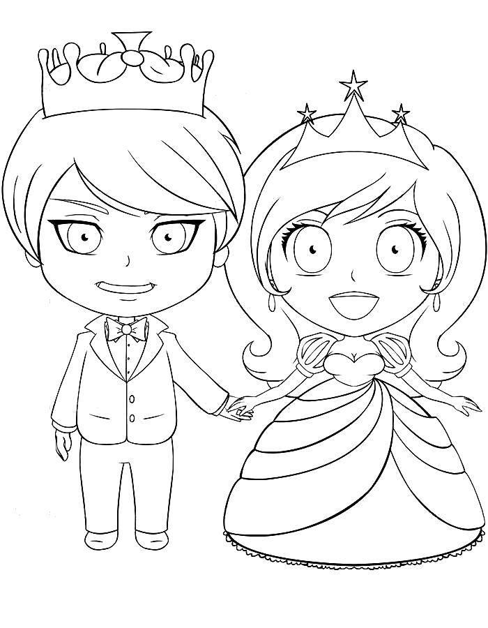 Раскраска Принц и принцесса Скачать Принцесса, принц.  Распечатать ,Принцессы,