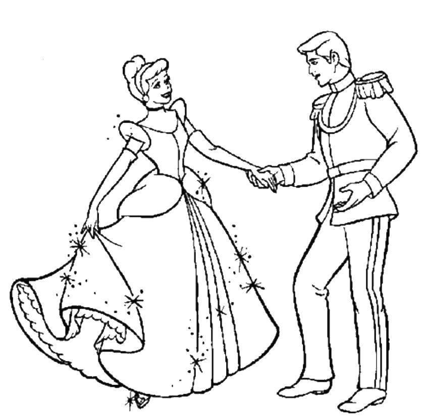 Раскраска Золушка танцует с принцем Скачать Золушка.  Распечатать ,золушка и принц,