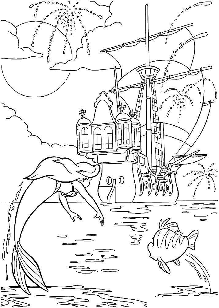 Раскраска Русалочка Скачать единорог, крылья, хвост.  Распечатать ,раскраски,
