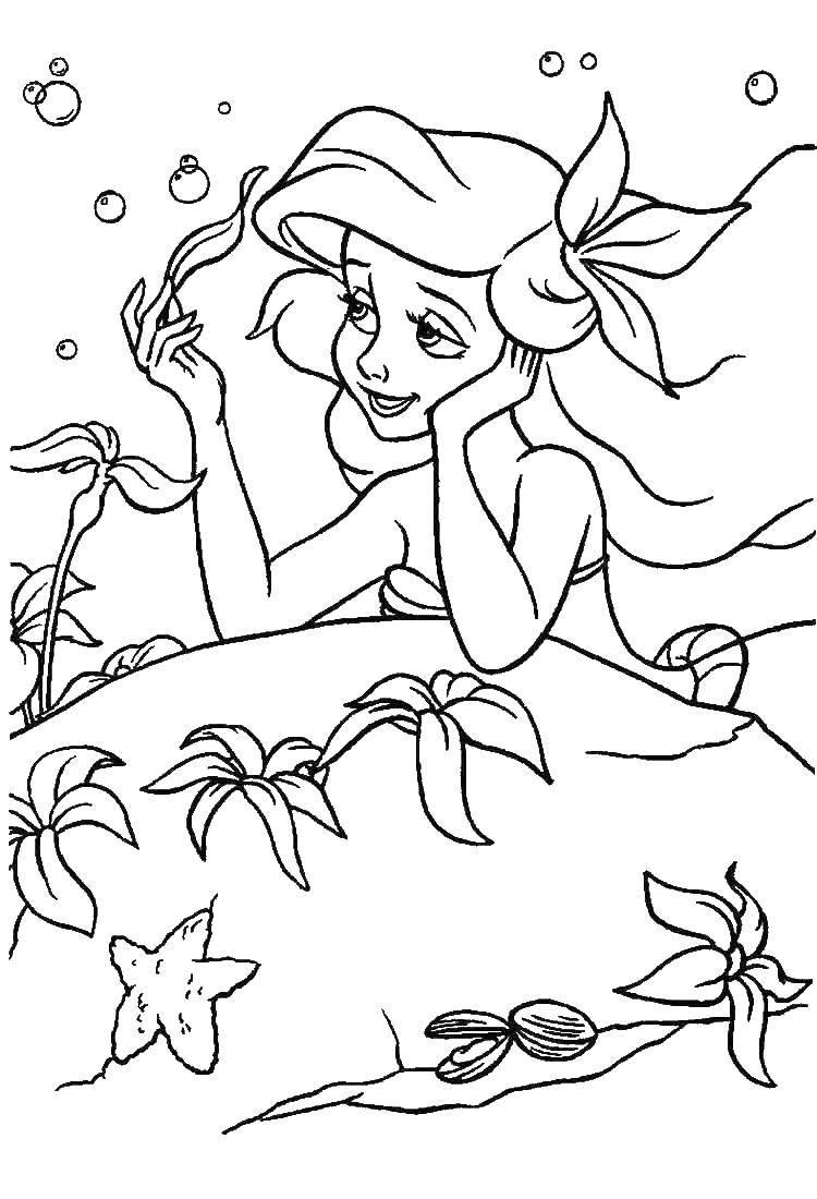 Раскраска русалочка ариэль Скачать роза.  Распечатать ,Я тебя люблю,