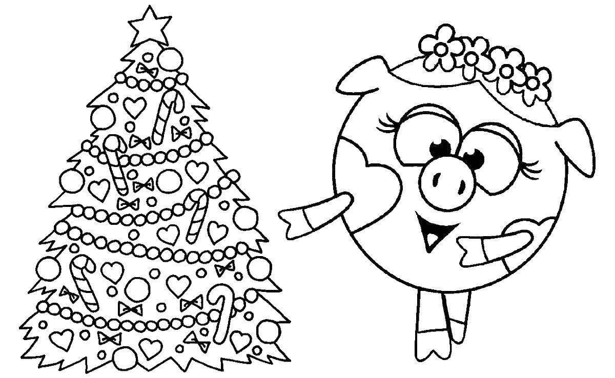 Раскраска Новогодняя нюша Скачать ,Смешарики, Нюша,.  Распечатать