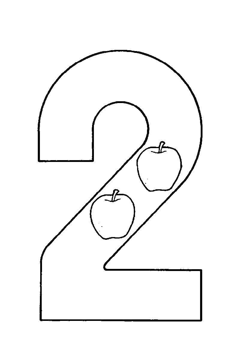 Раскраска Цифра 2 Скачать ,Цифры, счёт,.  Распечатать