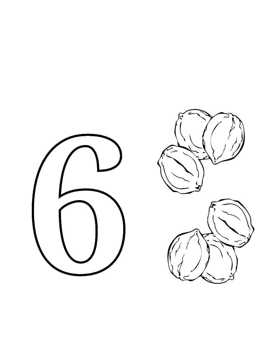Раскраска Учимся считать , цифра 6 Скачать ,Цифры, счёт,.  Распечатать
