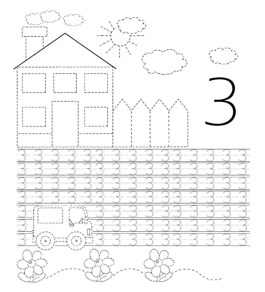 Раскраска Учимся писать цифру 3 Скачать Цифры, счёт, числа.  Распечатать ,прописи цифры,