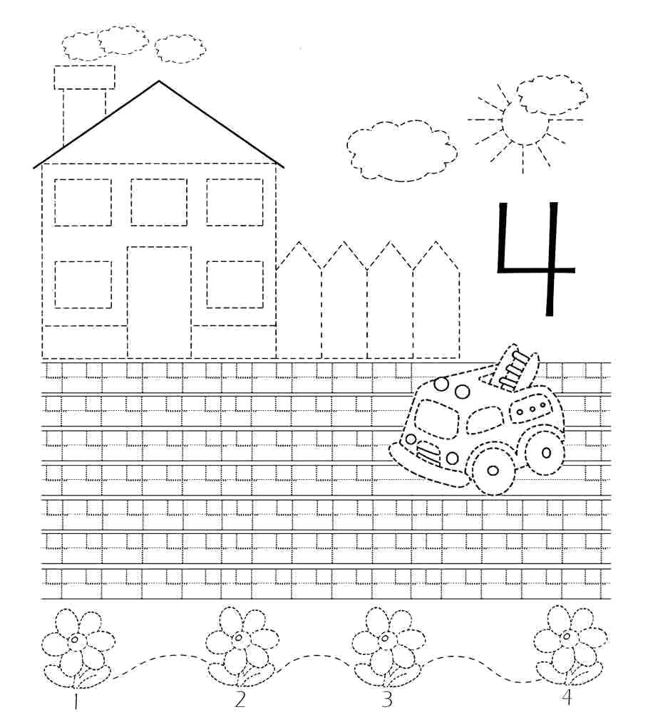Раскраска Учимся писать цифру 4 Скачать Цифры, счёт, числа.  Распечатать ,прописи цифры,