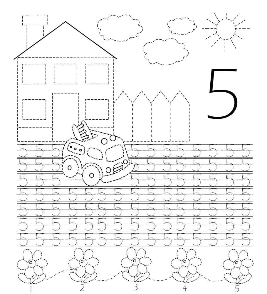 Раскраска Учимся писать цифру 5 Скачать Цифры, счёт, числа.  Распечатать ,прописи цифры,